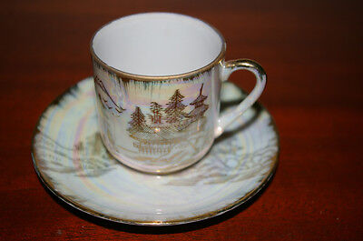 MT. FUJI AND TEMPLE DEMITASSE SET CUP WITH GEISHA LITHOPHANE AND SAUCER