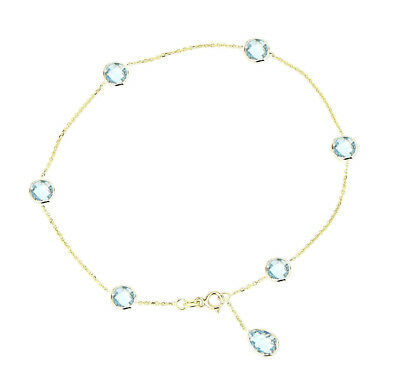 14K Yellow Gold Anklet With Blue Topaz Pear Shaped Drop 9""