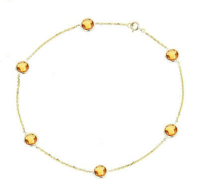 14K Yellow Gold Anklet Bracelet With Citrine Gemstones 9""