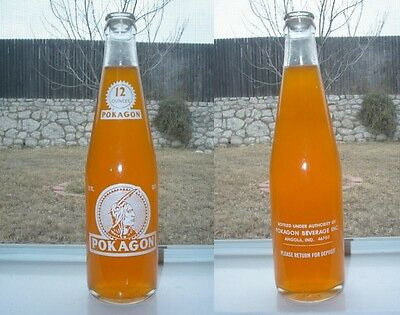 1974 12oz POKAGON Indian ACL Empty Soda Bottle - ANGOLA INDIANA IN