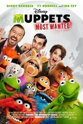 MUPPETS MOST WANTED MOVIE POSTER 2 Sided ORIGINAL 27x40 TINA FEY RICKY GERVAIS