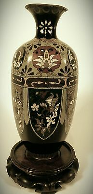 Cloisonné Japanese Antique Hand painted Bronze Vase. 12 inch tall
