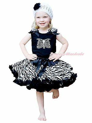 Halloween Party Skeleton Rib Print Black Top Zebra Pettiskirt Girl Outfit 1-8Y
