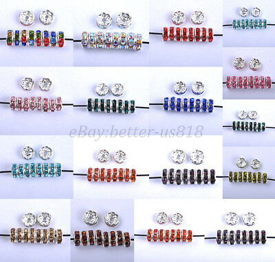 100Pcs Czech Crystal Rhinestone Silver Rondelle Spacer Bead 4mm 5mm 6mm 8mm 10mm
