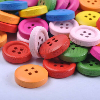 30pcs Mixed Colour WOOD Clothes Buttons Beads Jewelry Findings 15MM B427