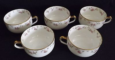 Haviland Limoges France Set of 5 Coffee Cups Pink Rose Swags inside and out