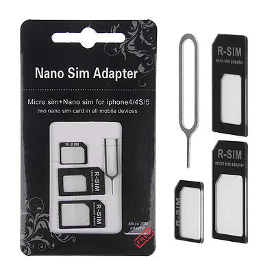 Nano SIM Card to Micro Standard Adapter Adaptor Converter Set For iPhone 7 6 6s