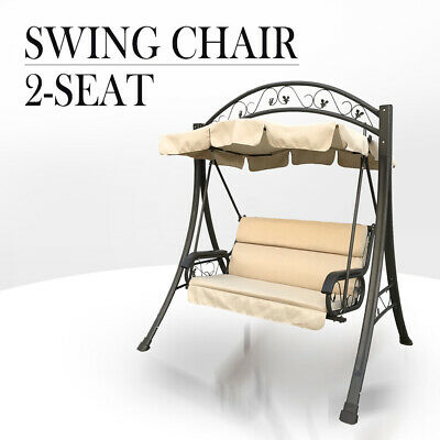 Outdoor Swing Chair Canopy Hanging Chair Garden Bench Seat Steel Frame Cushion