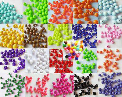 HOT 100PCS 10MM Loose Acrylic Solid Round Ball Beads Plastic Spacer Chunky Beads