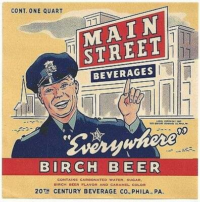 1940's Main Street Birch Beer Label - Philadelphia, PA