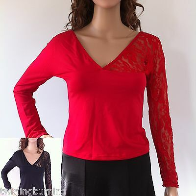Ladies Latin Dance Top Stretchy Lace V Neck Long Sleeves T Shirt Dancing DT03