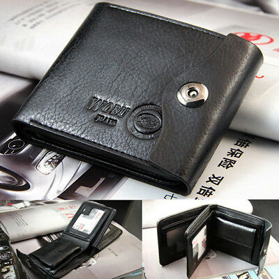 Men's Bifold Purse  Wallet Credit/ID Card Genuine Leather Holder Slim Gift WFEU