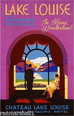 Chateau Lake Louise Rockies Vintage Canada Canadian Travel Advertisement Poster