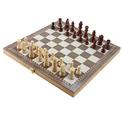 48*48 3 IN 1 Deluxe Wooden Folding Chess Checker Backgammon Combination Game Set
