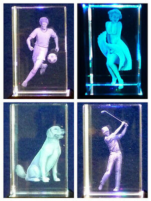 Laser Crystal Glass Paperweights - Heart I Love You Football Marilyn Monroe Dog