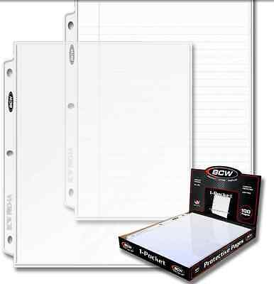 100 sheets - 1 pocket 8.5 8 1/2 X 11 Photos BCW Pages INCLUDES BOX