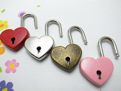 Old Vintage Antique Style Padlock Key Lock Heart Shaped(Assorted Color) Lot of 4