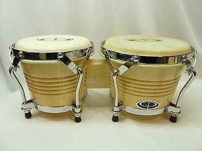 "GP Percussion  BONGO DRUMS 6"" & 7"" Hickory Wood Clear Finish Bongos"