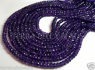 """Full 13"""" strand AAA purple AMETHYST faceted rondelle beads 4.5mm - 5mm"""