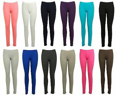 Ladies Women Viscose Plain Elasticated Waist Stretchy Soft Full Length Leggings
