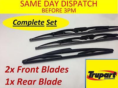 Peugeot 206 Hatchback 01-08 Front & Rear Windscreen Wiper Blades X3 Complete Set