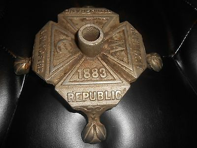 1883 Grand Army of the Republic Womens Relief Corps Cast Iron Flag Pole Stand