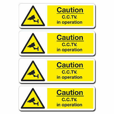 4 x 140mm Glossy Vinyl Stickers - CCTV In Operation Bus Taxi Van Window #0214