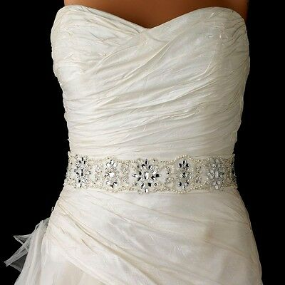 White or Ivory Pearl Beaded Sequin Bridal Sash Wedding Belt