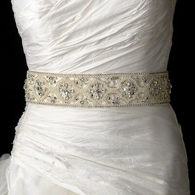 White or Ivory Pearl Rhinestone Crystal Heavily Beaded Bridal Sash Wedding Belt