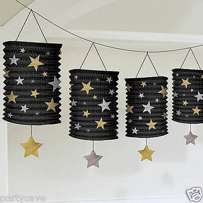 Hollywood Party Awards Gold Silver Black Stars Lantern Garland Banner Decoration
