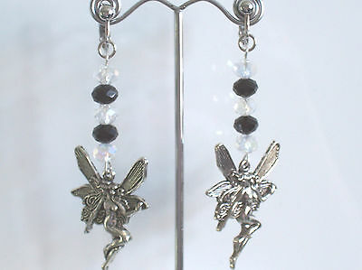 "Fairy clip-on earrings - black/clear faceted beads dangly 4"" long"