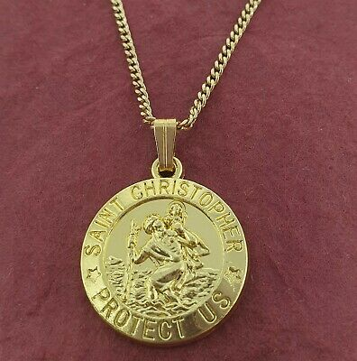 St CHRISTOPHER Necklace Gold Plated Charm Pendant and Chain TRAVEL Saint