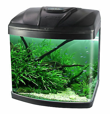 10L/15L/28L/48L Aquarium Fish GlassTank Fresh Water  LED Light  Filter Black