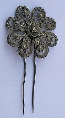ANTIQUE EARLY 19th CENTURY TURKEY - OTTOMAN EMPIRE SILVER AND DIAMONDS BROOCH