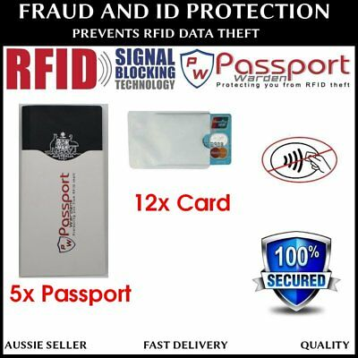 2x Passport & 6x Card RFID Blocking Identity Theft Protection SLEEVES - AU STOCK
