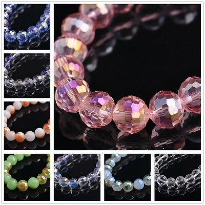 Hot 20pcs Round Rondelle Faceted Glass Crystal Loose Spacer Beads Charms 10mm