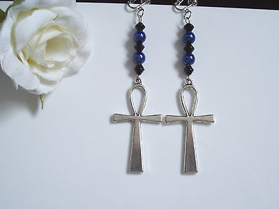 Long ankh dangly earrings - blue/black beads gothic (pierced or clip)