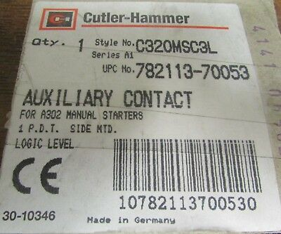 EATON CUTLER HAMMER C320MSC3L Auxiliary Contact For A302 Manual Starters