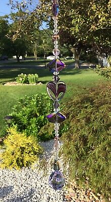 Healing Purple Heart Crystal Suncatcher W/Swarovski Elements Lavender Ball USA