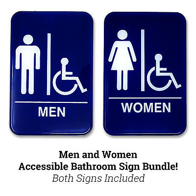 "Men's & Women's Handicap Accessible Restroom Sign BUNDLE - Bathroom Sign 6"" x 9"""