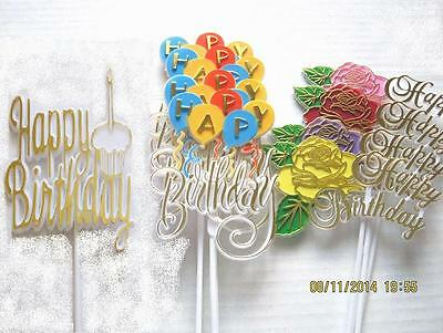 Floral Picks HAPPY BIRTHDAY Assorted Packs Rose, Balloons, Cupcake Pk/4 NEW!