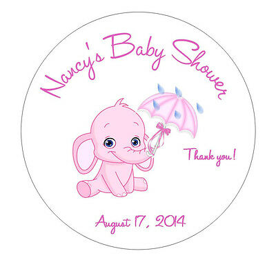 Baby Shower Favor Tags or Stickers -Pink/Blue Elephant with Umbrella