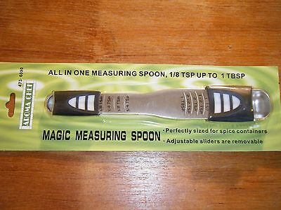 New! Aroma Chef Magic Measuring Spoon All in One 1/8 tsp to 1 Tbsp Adjust Slider