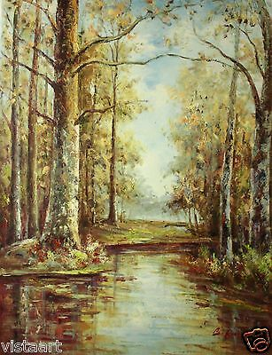 "Quality Oil Painting on Canvas 30""x40""- Forest River, Fall, Water Reflection"