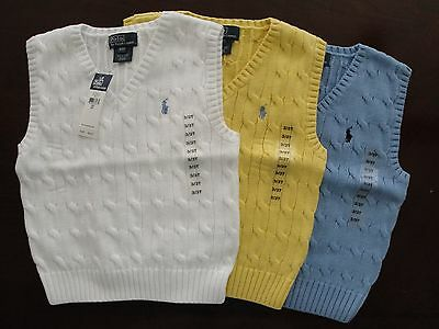 NWT Ralph Lauren Boys Classic Cable Solid Sweater Vest  8 10/12 14/16 18/20 NEW