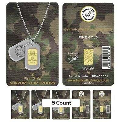 Lot of 5 - 1 Gram Gold Bullion Exchanges Army Camouflage .9999 Bar (In Assay)