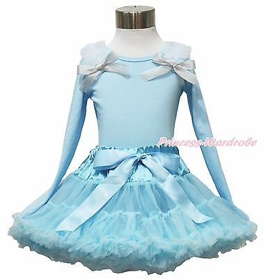 Princess Elsa Ruffle Bow Long Sleeves Blue Top Pettiskirt Girl Outfit Set 1-8Y