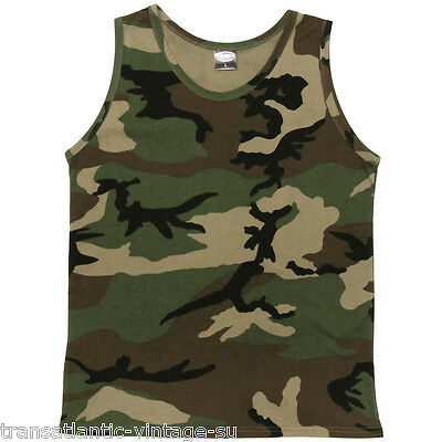 Classic Us Army Vest Singlet Combat Tank Top Military Camo T-Shirt 100% Cotton