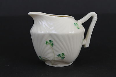 Vintage Signed Belleek Ireland Fine Bone China Hand Painted Shamrock Creamer