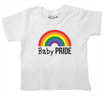 "Baby LGBT T-Shirt ""Baby Pride"" Rainbow Gay Lesbian Pride Boy Girl Tee Clothes"